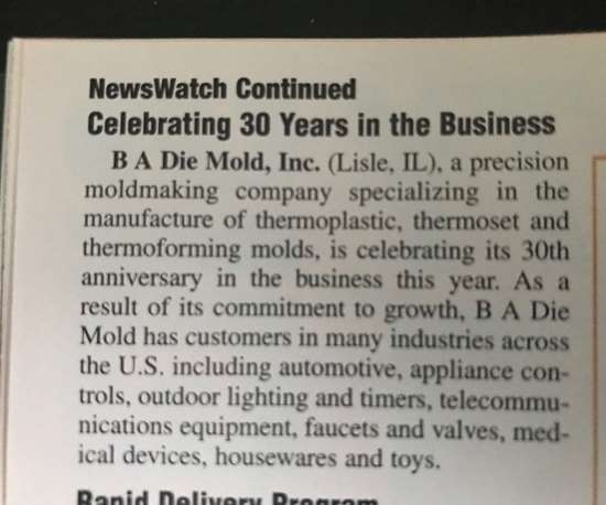 News clip about B A Die Mold, Inc.'s 30th anniversary
