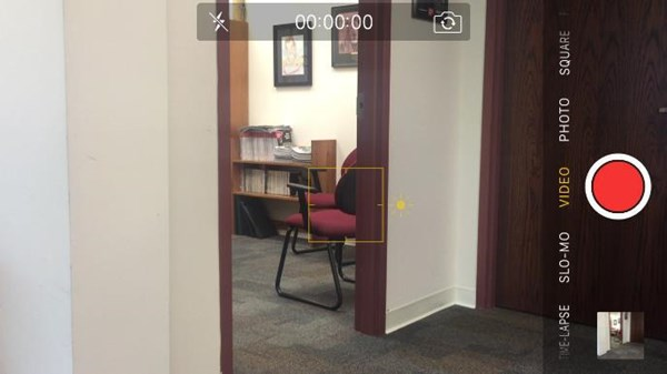 Screenshot of what the camera shows when an iPhone that is recording a video is angled horizontally