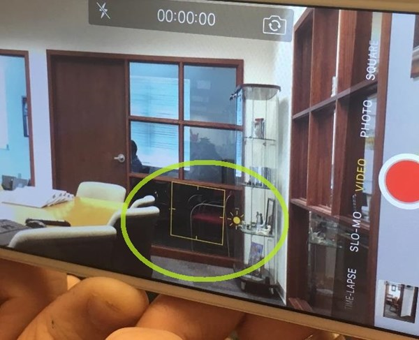 Screenshot of the video app in iPhone highlighting the tap focus feature