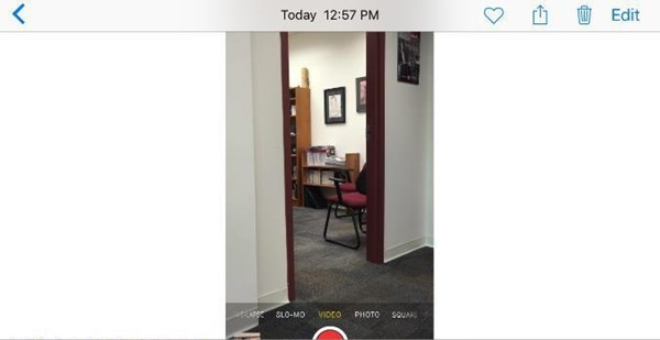 screenshot of the camera when a video is filmed vertically