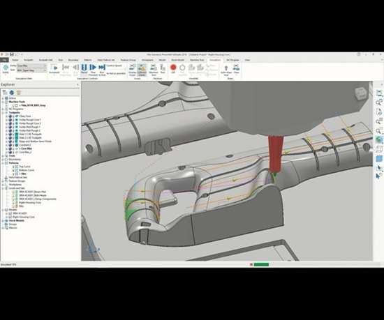 screenshot of software from Autodesk performing collision checks on NC code