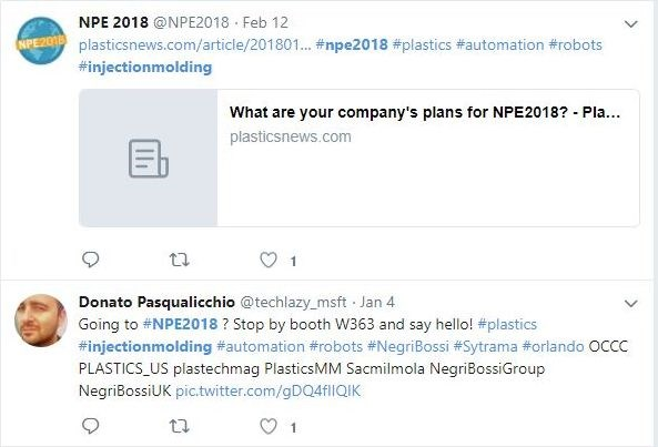 Twitter search results for #NPE2018 and #injectionmolding