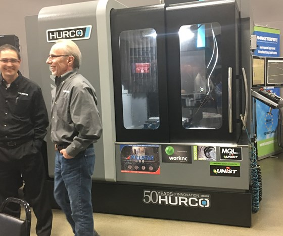 Hurco high-speed double column BX40i machining center in the Hurco showroom