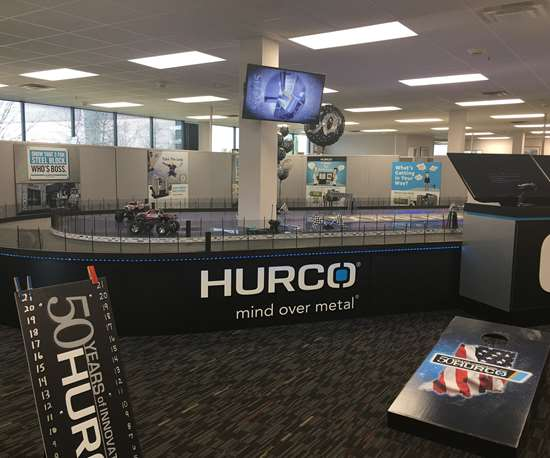 Hurco race track and corn hole boards