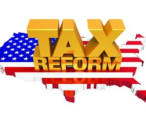"3D letters reading ""tax reform"" over a 3D United States filled in with the USA flag"