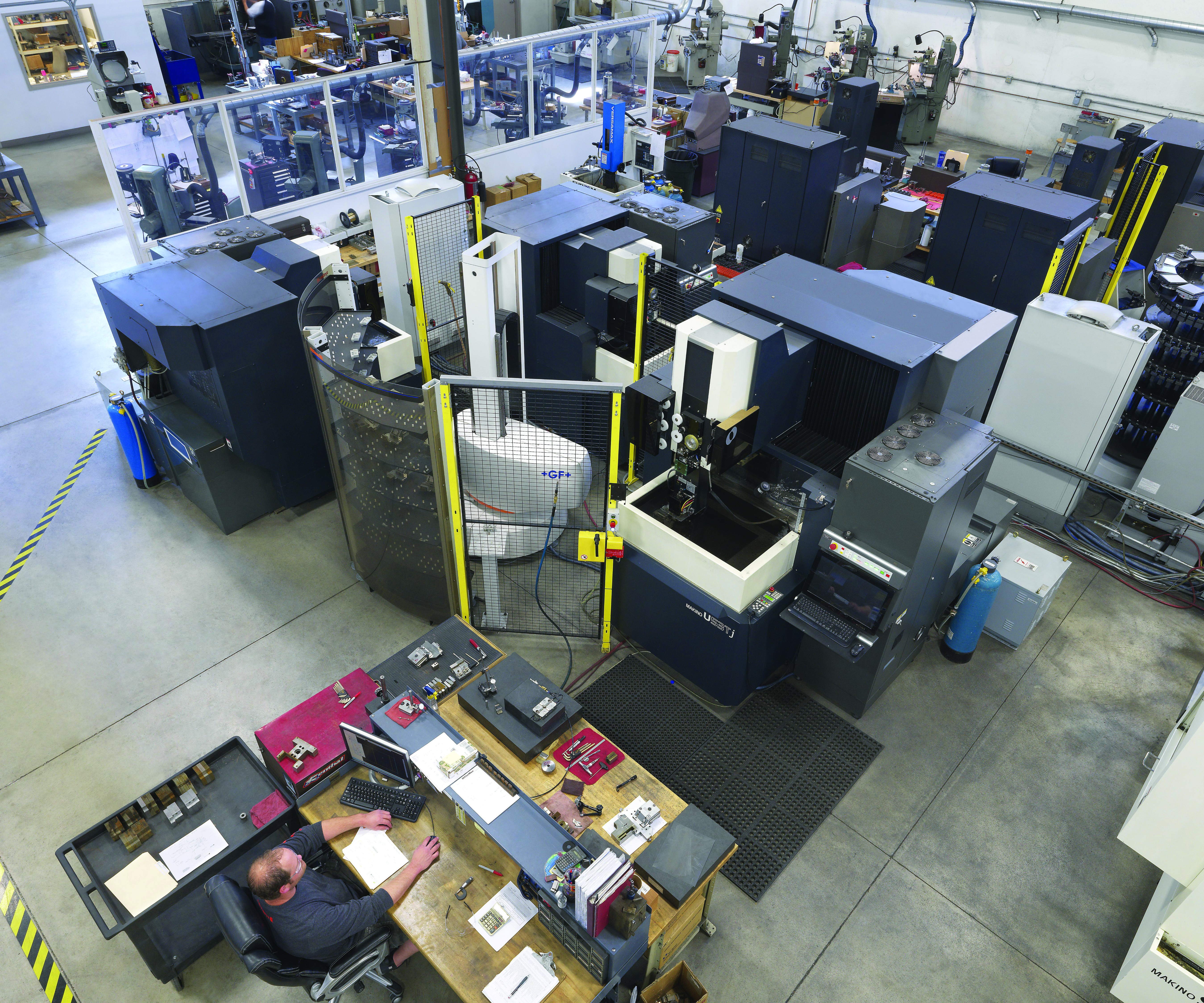 aerial shot shows one of Summit Tooling's EDM cells