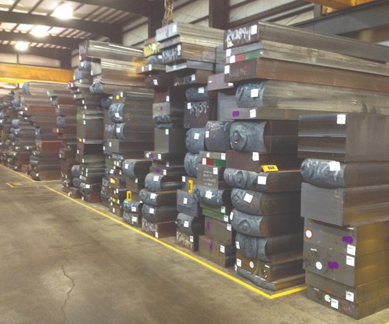 Forged blocks of mold and die steel at Ellwood Specialty Steel.