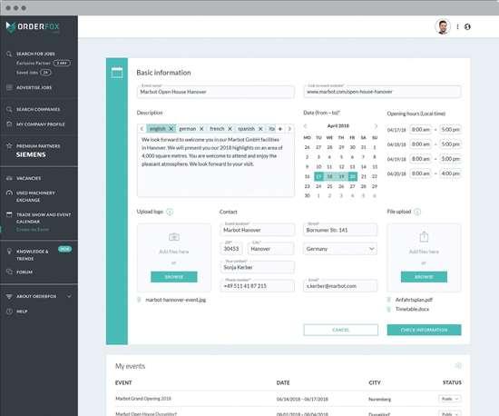 Orderfox.com create an event feature