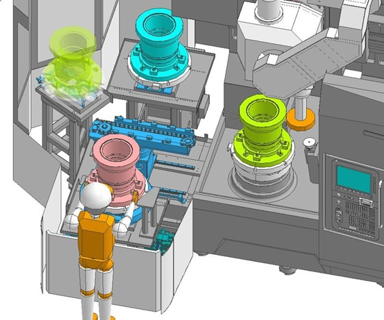 Simulation of machinist using the optional pallet changer