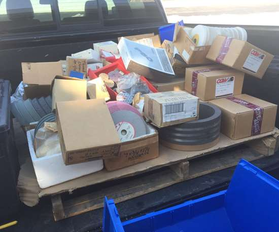 Truckload of grinding wheels destined for use teaching high school students how to use grinding equipment in advanced manufacturing .