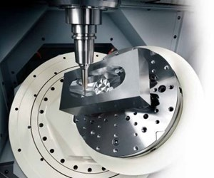 Part being produced by Makino machining center.