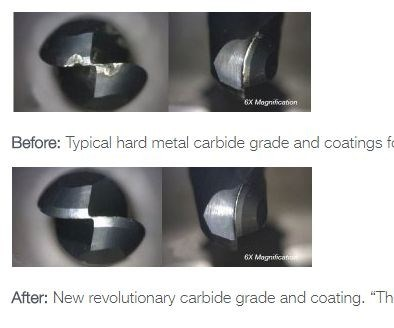 Before and after images of end mills with and without RobbJackcoating.