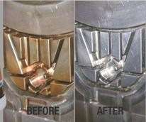 Before and after image of material cleaned wtih Nanoplas Inc. Zap-Ox oxidation cleanser