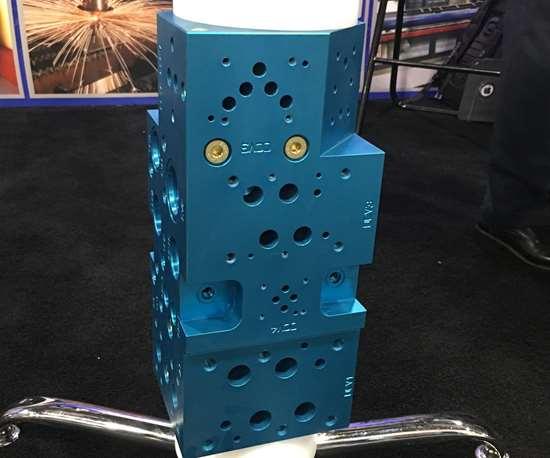 Alro Steel Corp. blue aluminum manifold