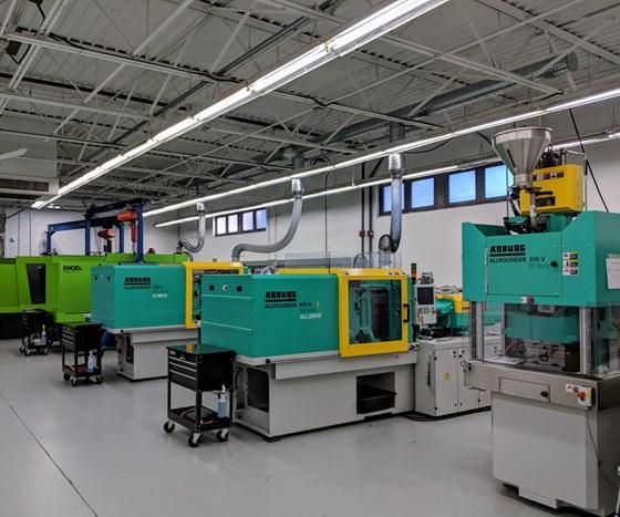 Molding machines on shop floor