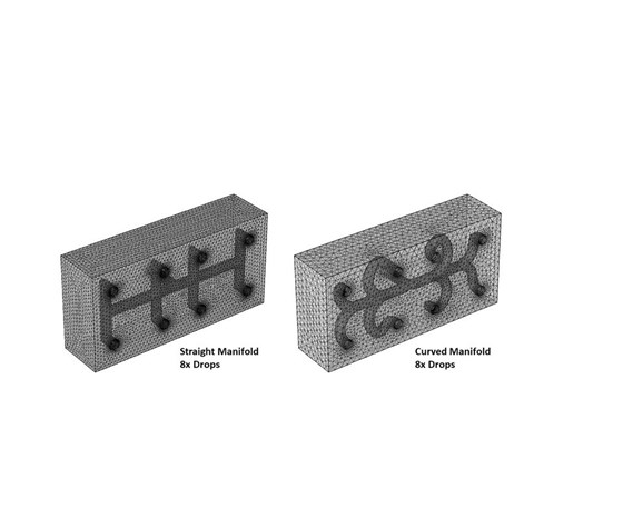 Simulation showing manifold CAD modules for straight and curved designs.