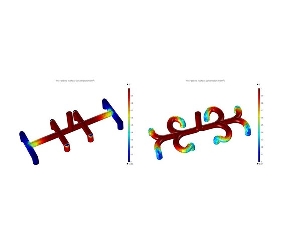 simulation showing depictsurface concentration at 100 milliseconds simulated time for both straight (left) and curved (right) manifold designs