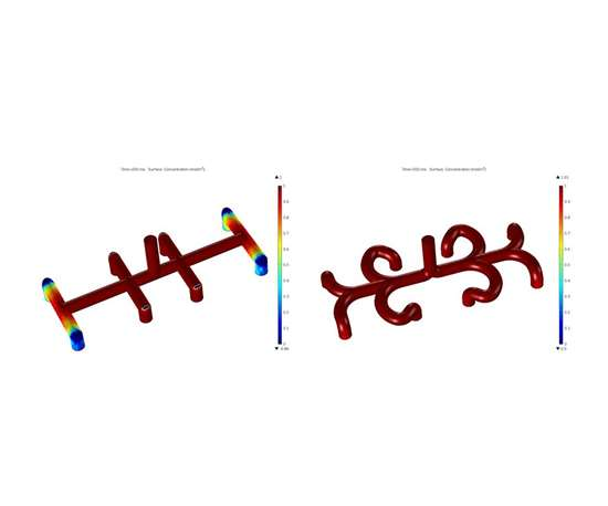 simulation showing images depict surface concentration at 200 milliseconds simulated time for straight (left) and curved (right) manifold design