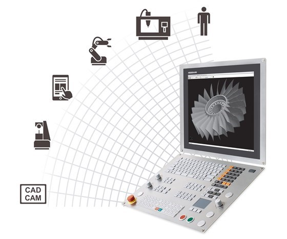 Heidenhain graphic showing component on computer screen