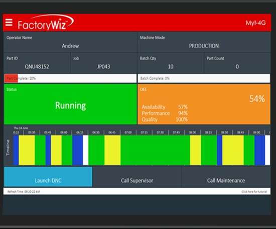 FactoryWiz flexible tablet interface screenshot