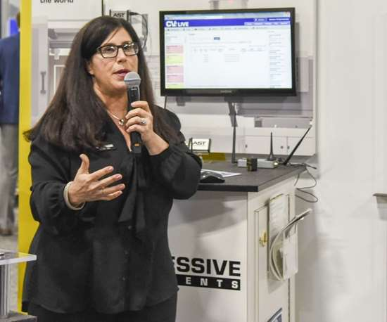 Lorena Fisher of Progressive Components talking about CVe Live technology at Amerimold 2018