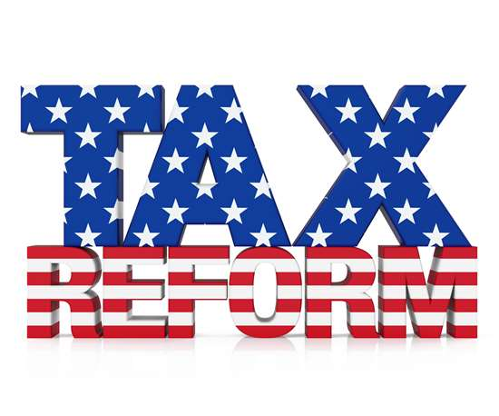 """Tax Reform"" letters with stars and stripes inside the shapes of the letters"