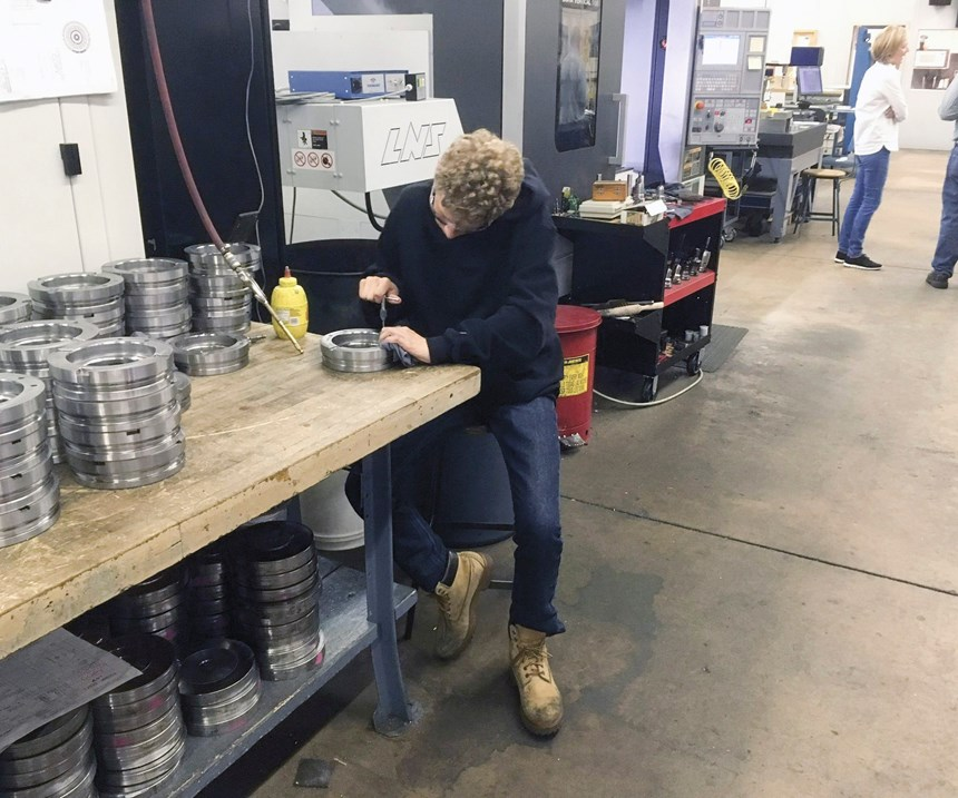 Student helping out at Janler Corp.