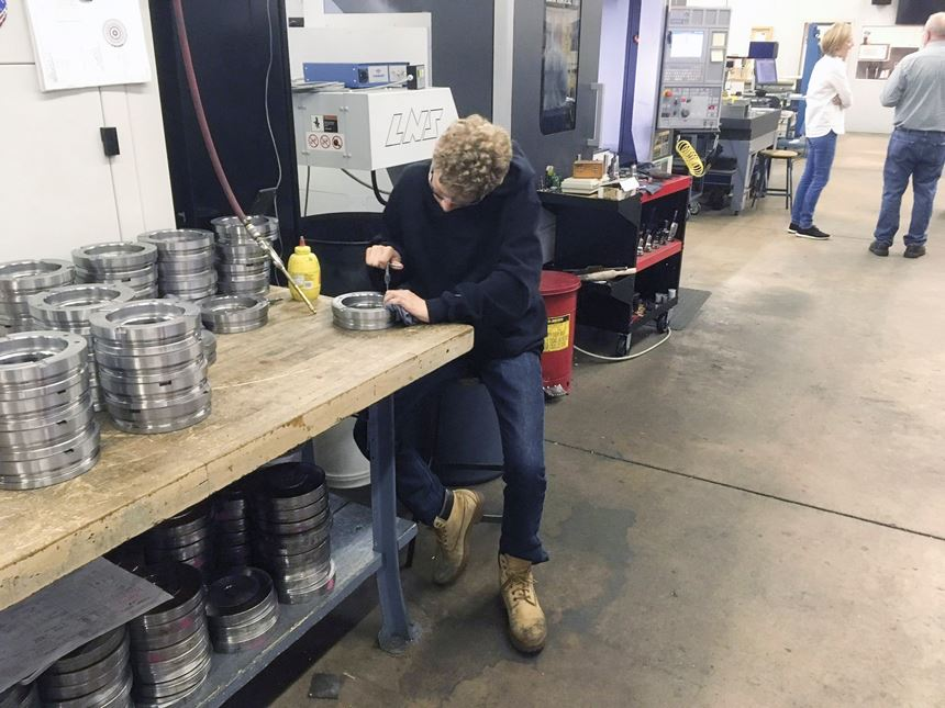 Cole Klingler helping out at Janler Corp.