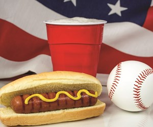 hot dog, drink and basebal