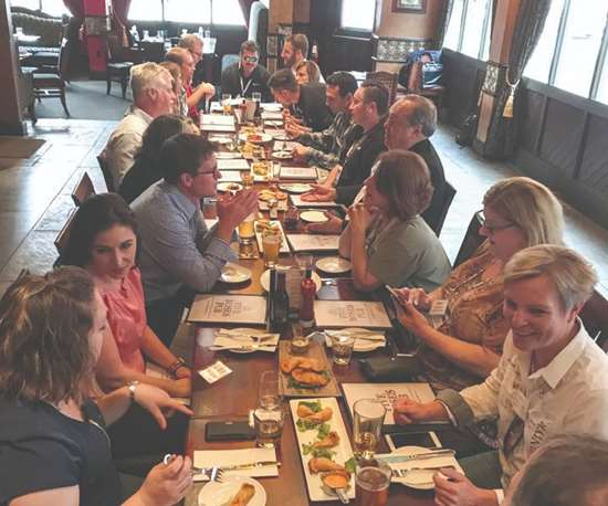 EAB members, MMT editors and GBM staff at dinner in Rosemont, Illinois
