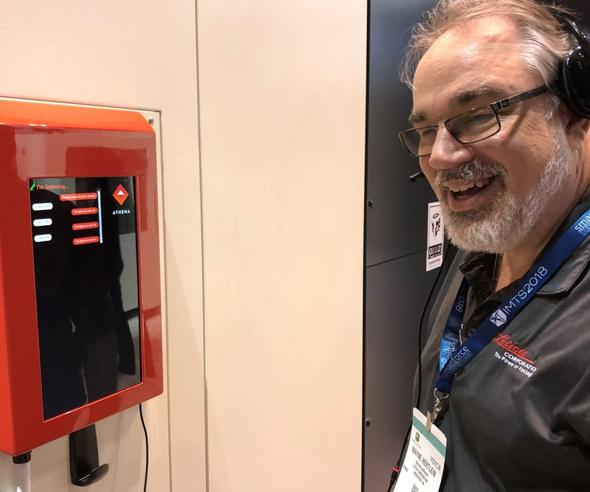 Wayne Hertlein of Letica, with Athena at IMTS