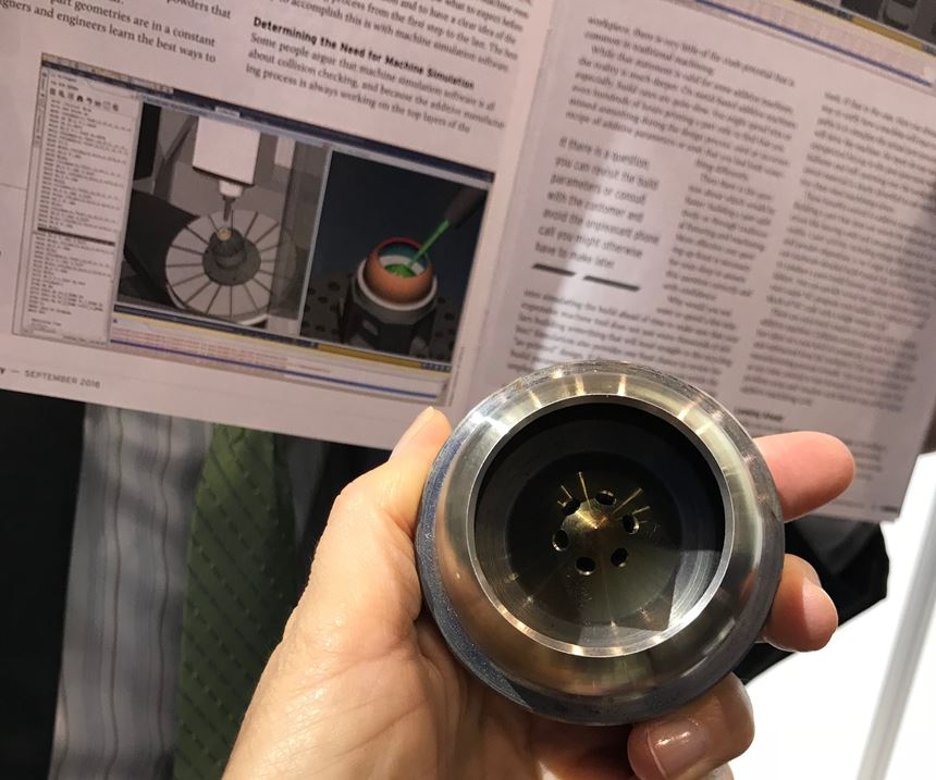 Image of CGTech article next to the part that an image in the article is simulating