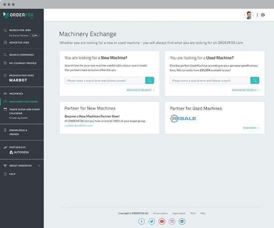 Machinery Exchange webpage
