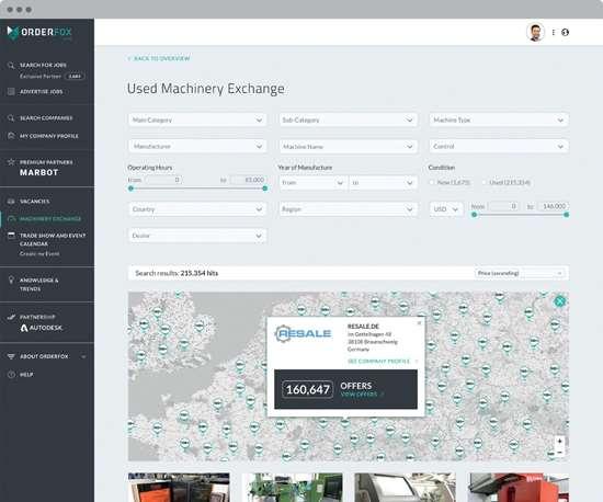 Used Machinery webpage