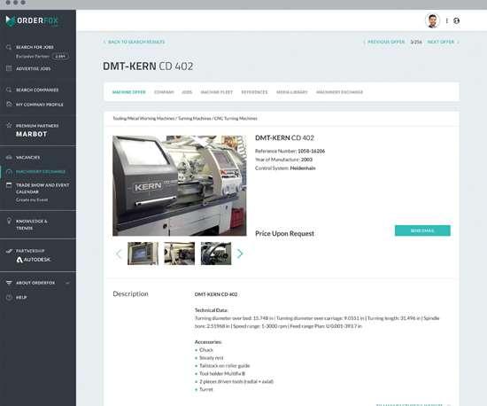 Machine webpage