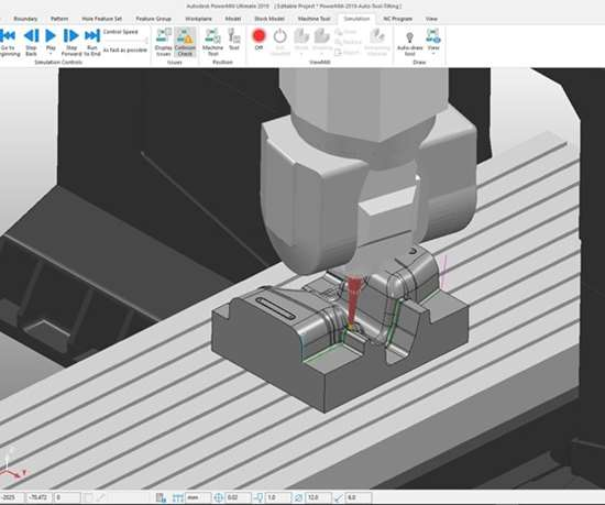 Autodesk Powermill screenshot showing automatic tool tilting