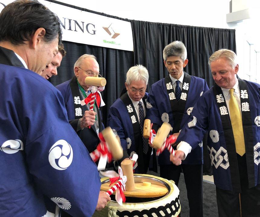 Traditional sake ceremony at Sodick USA Inc.