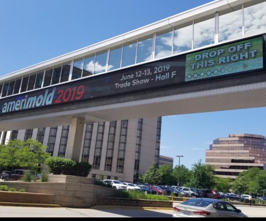 Outside signage for Amerimold 2019 at Rosemont, Illinois