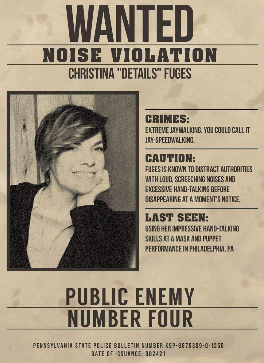 WANTED poster of Christina Fuges at Amerimold 2019