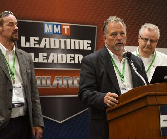 Ron Novel, president of X-Cell Tool and Mold, with Jim Cummings and Brian Dippel