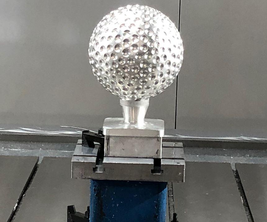 Closeup of golf trophy at Zimmermann Inc. open house.