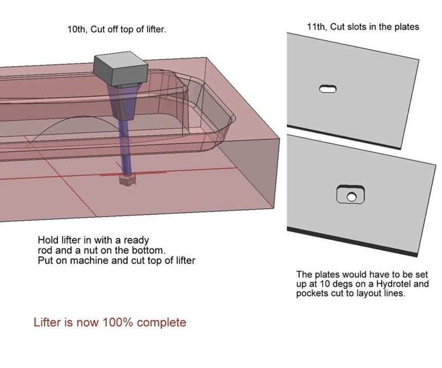 Steps 10 and 11 of making a mold lifter by hand Cavalier Tool