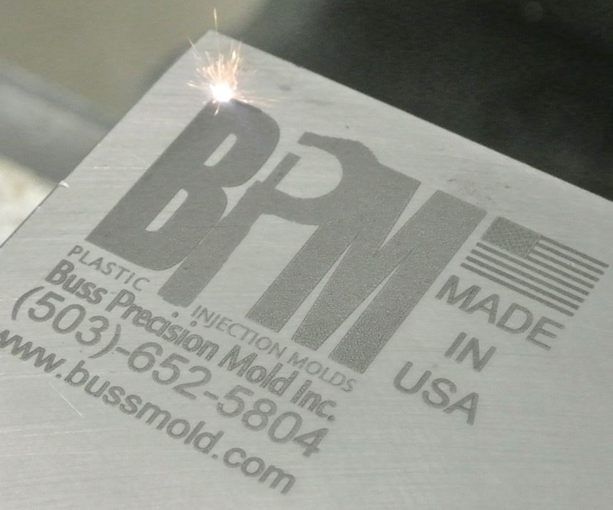Buss Precision Mold Inc. laser engraving on an injection mold