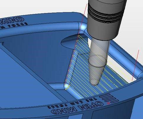 Screenshot of Open Mind hyperMILL MAXX CAM toolpath using an ArCut-X barrel cutter from Fraisa USA Inc.