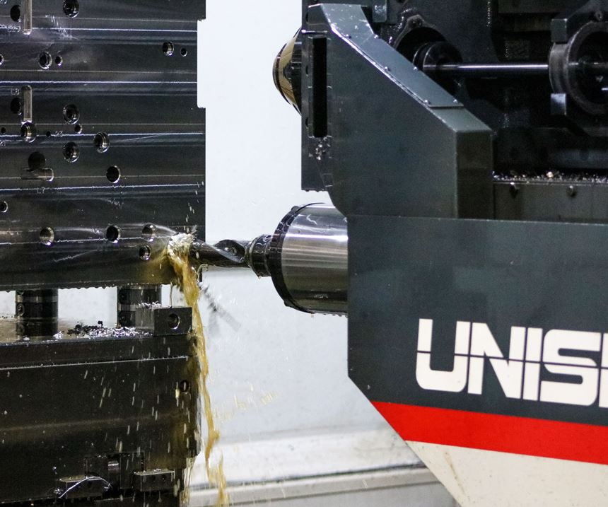 Closeup of deep-hole drilling at Concours Mold Inc. using Unisig USC-M38