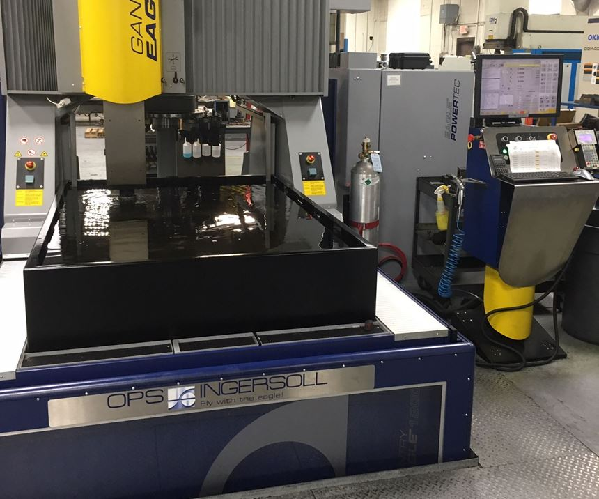 OPS Ingersoll Gantry Eagle 1200 sinker EDM machine at Viking Tool and Engineering Inc.
