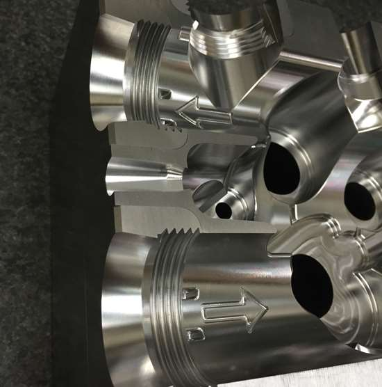 Complex cavity machined using a Hermle C42 at Omega Tool Inc.
