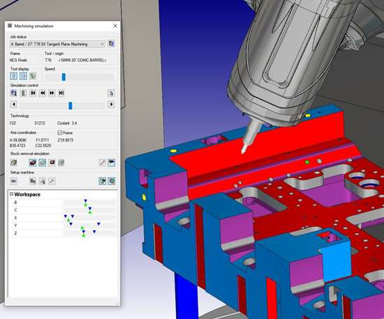 hyperMILL CAM software machining simulation feature.