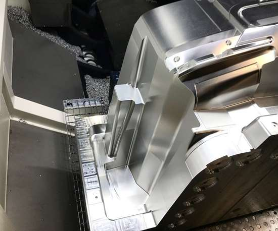Injection mold half on CNC at Precision Mold & Machining Services Inc.