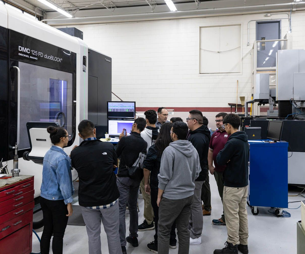 MFG Day 2019 students learning about high-speed machining at A-1 Tool Corp.